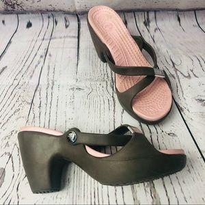 Crocs Sandals high heels Brown/Pink 7 Wide